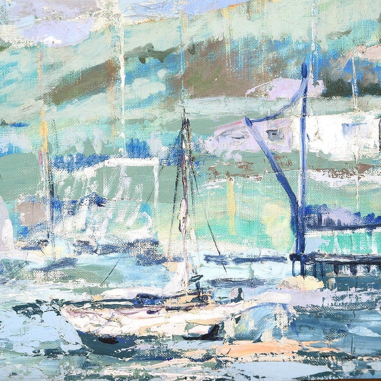 Harbor Scene with Sailboats Impressionist Painting For Sale 1
