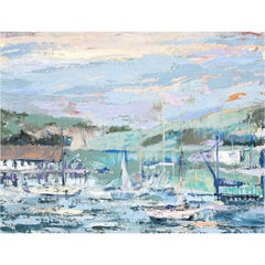 Harbor Scene with Sailboats Impressionist Seascape Oil Painting