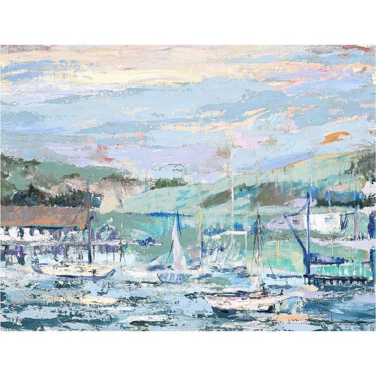 Unknown Landscape Painting - Harbor Scene with Sailboats Impressionist Painting
