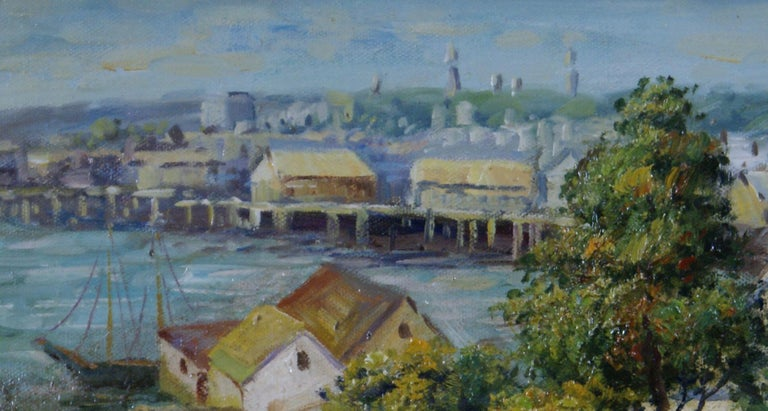 Harbor View - Brown Landscape Painting by Unknown