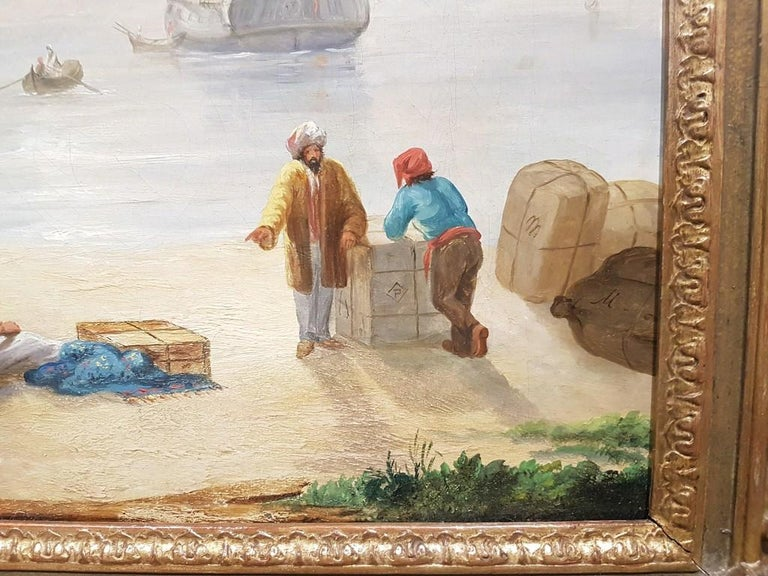 Harbor View with Merchants and a Mosque, Greek-Roman Buildings and Ships on Background. In excellent conditions. Includes a beautiful contemporary wooden gilded frame: 87.5 x 98 x 10.5 cm  This artwork is shipped from Italy. Under existing