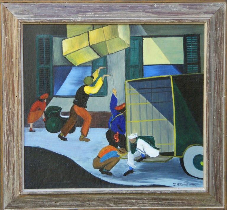 Harlem Moving Day, African American Scene Black Renaissance Mid 20th Century WPA - Painting by Unknown