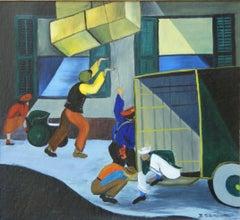 Harlem Moving Day, African American Scene Black Renaissance Mid 20th Century WPA
