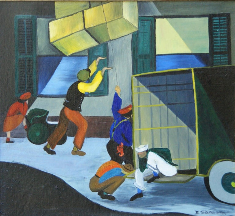 Unknown Figurative Painting - Harlem Moving Day, African American Scene Black Renaissance Mid 20th Century WPA