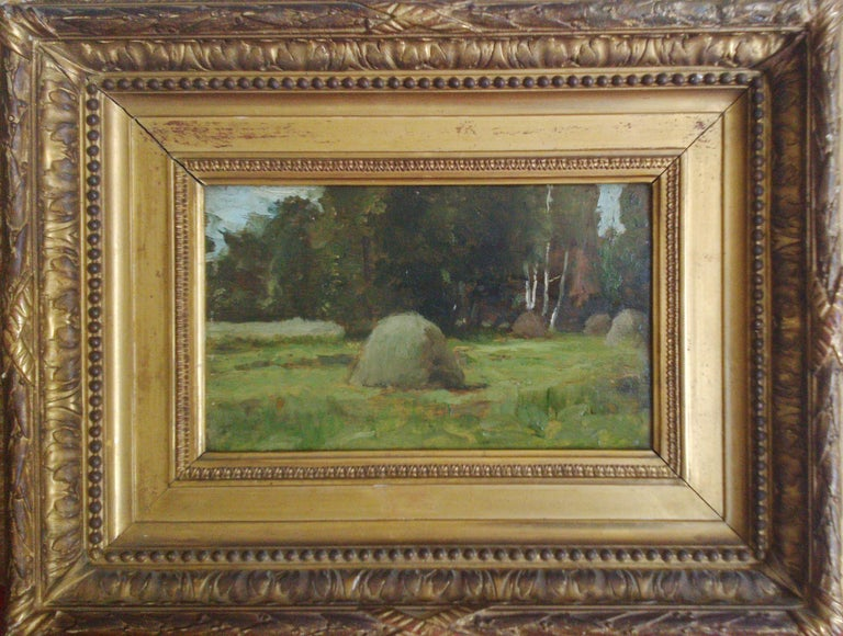 Study of Haystacks, 19th c. Barbizon School - Painting by Unknown