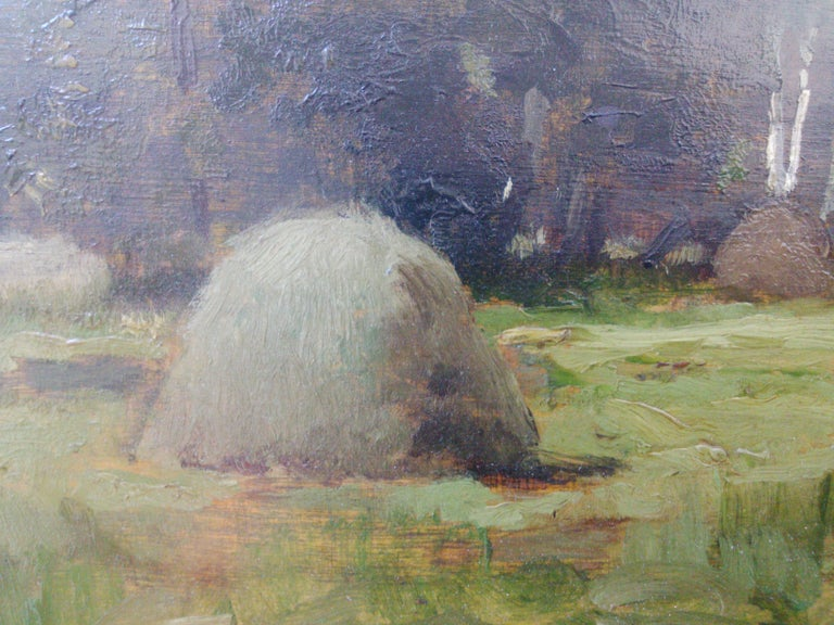 Study of Haystacks, 19th c. Barbizon School - Brown Landscape Painting by Unknown