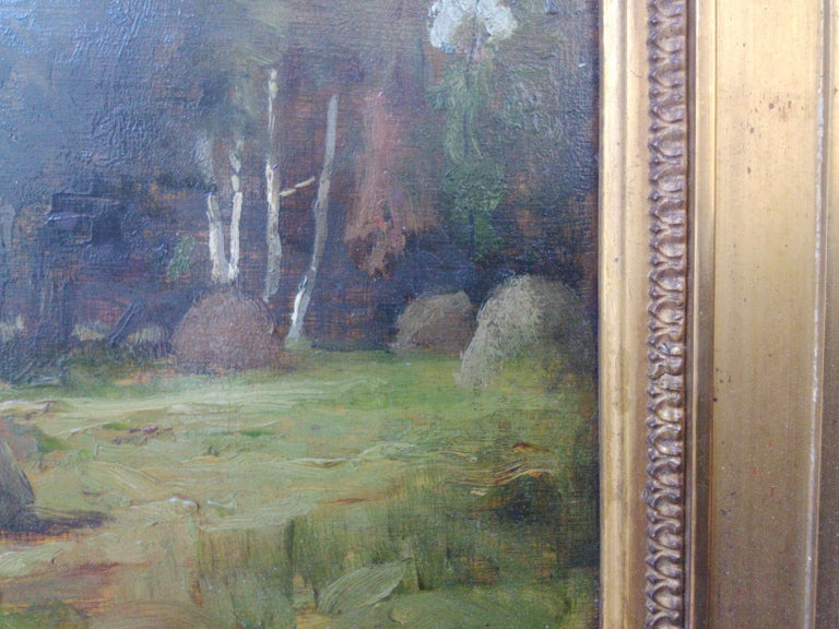 These haystacks, dating from the 1880s, are one of the loveliest examples of French plain air painting of the second haft of the 19th Century I have come across in a long time. In the wake of Courbet, it is inscribed in the realist tradition,