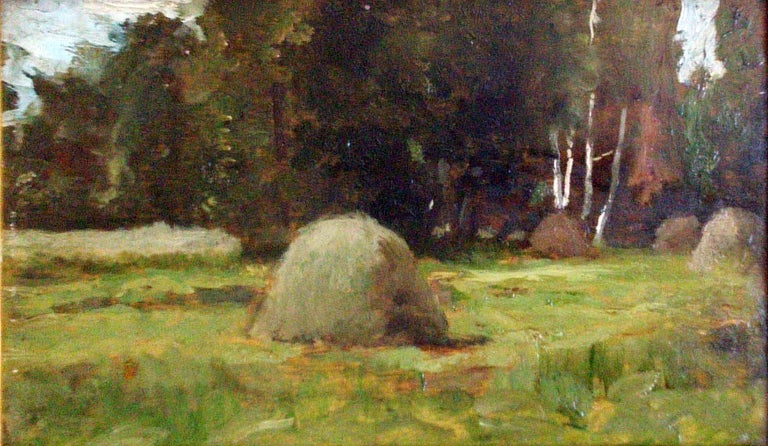 Unknown Landscape Painting - Study of Haystacks, 19th c. Barbizon School