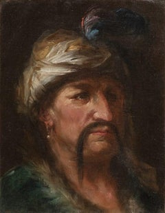 Head of Oriental Man - Oil on Canvas by Venitian Master 18th Century