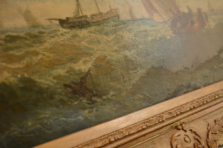 A sailor turns his boat away from land and sets out to sea in this bracing ocean scene. He will soon join a trawler out deeper, as well as other sailboats enjoying what appears to be a stiff breeze. A bit of shipwreck drifts off to the left of his