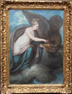 Hebe and the Eagle of Zeus - 18th century art mythological oil painting