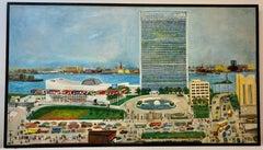 "Helen Mauldin New York City ""United Nations"" Large Scale Folk Art Painting 1958"