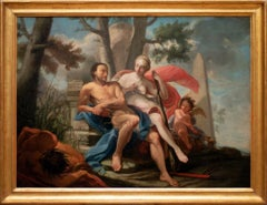 Hercules and Omphale - Original Oil Painting on Canvas - 18th Century