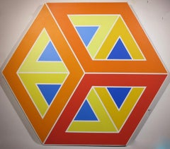 Hexagonal graphic Op Art precisionist oil painting