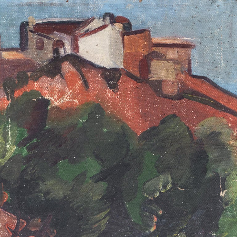 French Post Impressionist 'Hill Town in Provence' - Gray Landscape Painting by Unknown