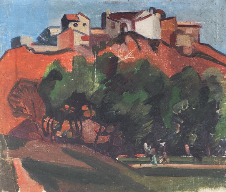 Unknown Landscape Painting - French Post Impressionist 'Hill Town in Provence'