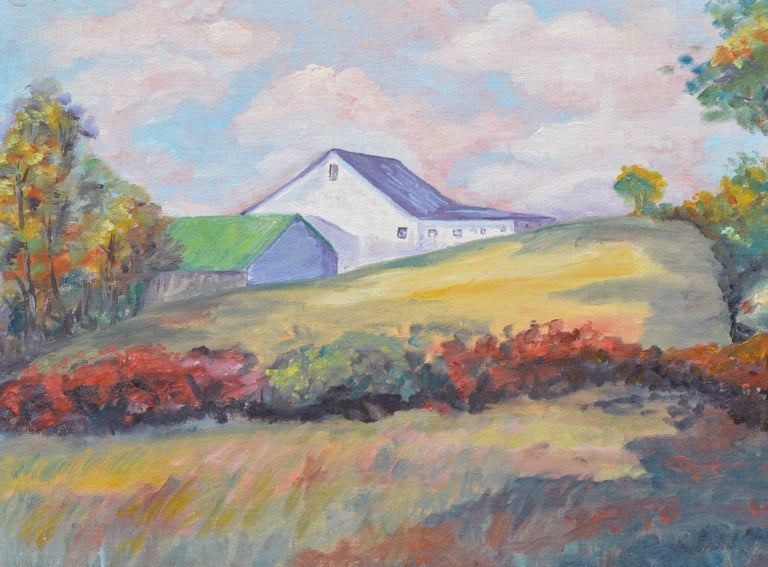 Hilltop Barn Landscape  - Painting by Unknown