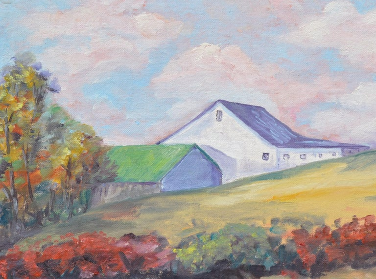 Hilltop Barn Landscape  - American Impressionist Painting by Unknown