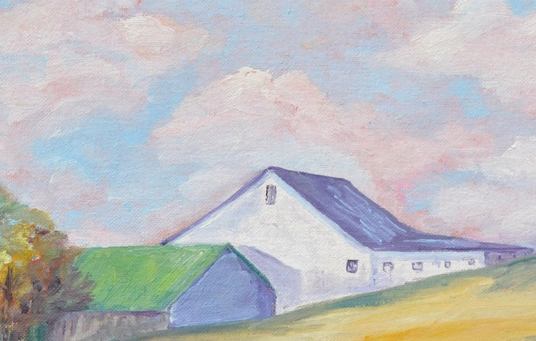 Hilltop Barn Landscape  - Gray Landscape Painting by Unknown
