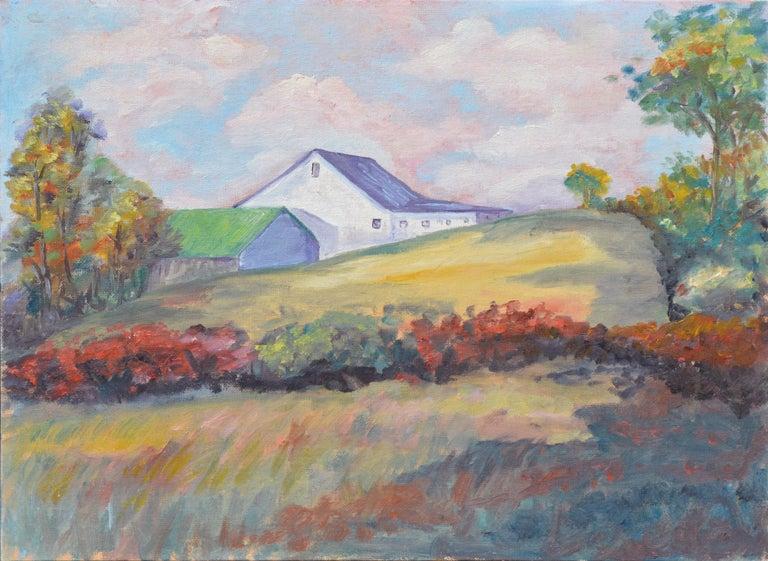 Unknown Landscape Painting - Hilltop Barn Landscape