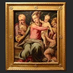 Holy Family John The Baptist Oil on wood 16th Century Art Italy Firenze Roma