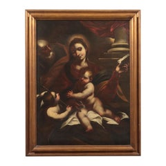 Holy Family With Young Saint John Oil On Canvas 17th Century