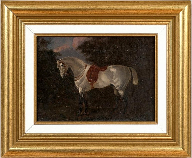 "Unknown Animal Painting - Horse Portrait ""Shamrock"" (British School, 19th Century) Oil Painting on Canvas"