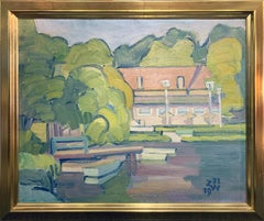House by the Lake, Landscape, Oil on Canvas, Signed, Dated, and Framed