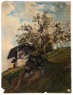 House in the Mountain - Oil on Board by french artist 20th Century