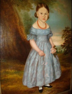 Huge 18thc Early Georgian Period Oil Portrait Of A Young Girl English School