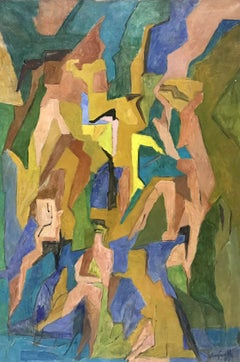 HUGE 1960'S FRENCH CUBIST OIL PAINTING - PASTEL SHADES OF COLOR - FIGURATIVE