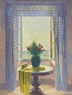 HUGE 1980'S FRENCH IMPRESSIONIST OIL - FLOWERS INTERIOR LOOKING OUT OF WINDOW