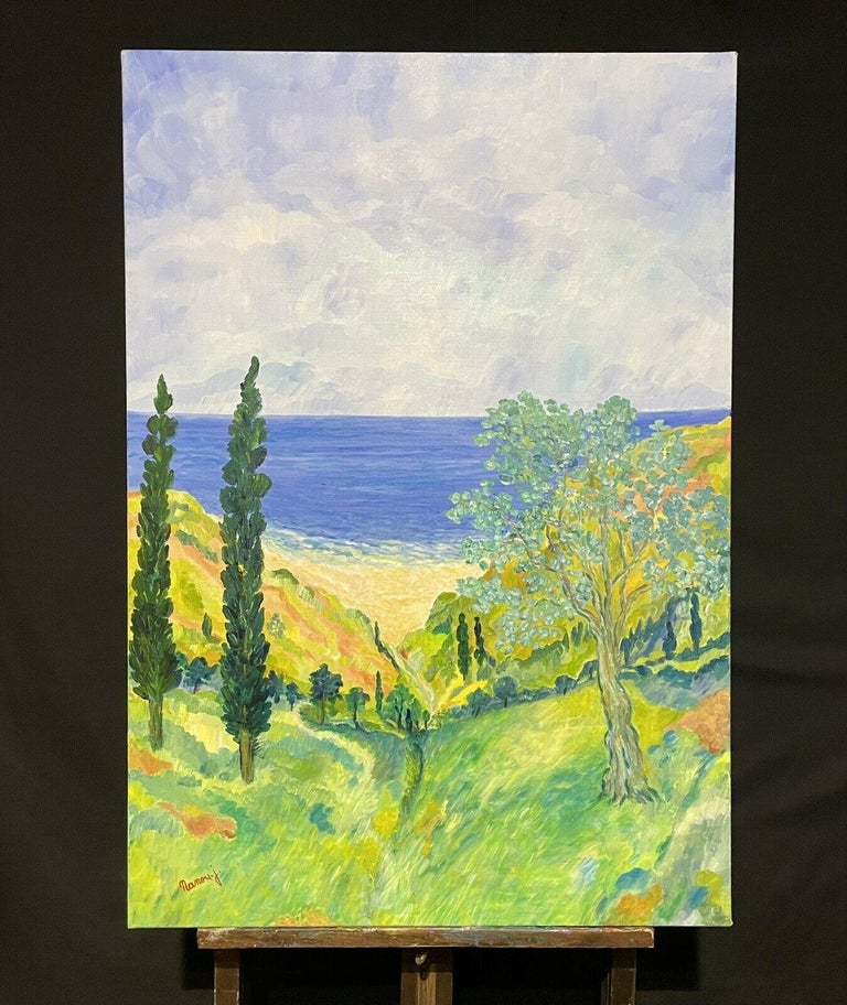 HUGE 20TH CENTURY FRENCH IMPRESSIONIST SIGNED OIL - COTE D'AZUR PROVENCE VIEWS - Painting by Unknown