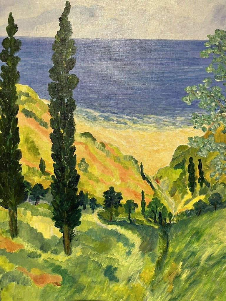 HUGE 20TH CENTURY FRENCH IMPRESSIONIST SIGNED OIL - COTE D'AZUR PROVENCE VIEWS - Impressionist Painting by Unknown