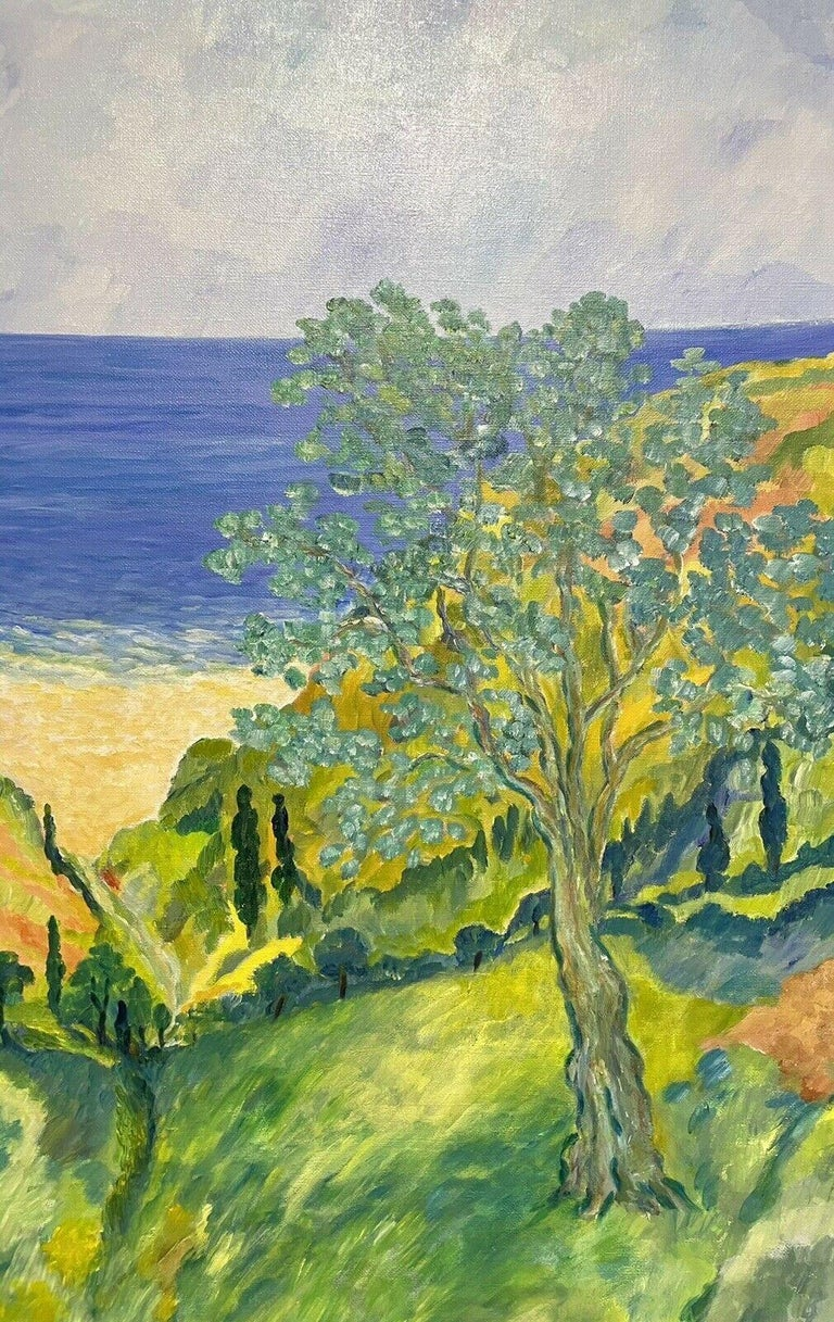 HUGE 20TH CENTURY FRENCH IMPRESSIONIST SIGNED OIL - COTE D'AZUR PROVENCE VIEWS - Beige Still-Life Painting by Unknown