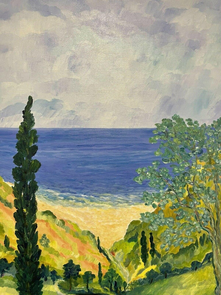 Artist/ School: French School, indistinctly signed, late 20th century  Title: The Coastal View, Provence  Medium:  oil painting, on canvas  Size:  painting: 45.5  x 32.25 inches          Provenance: private collection, France  Condition: The