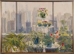 Huge American Modernist New York City Balcony View Flower Still Life Painting