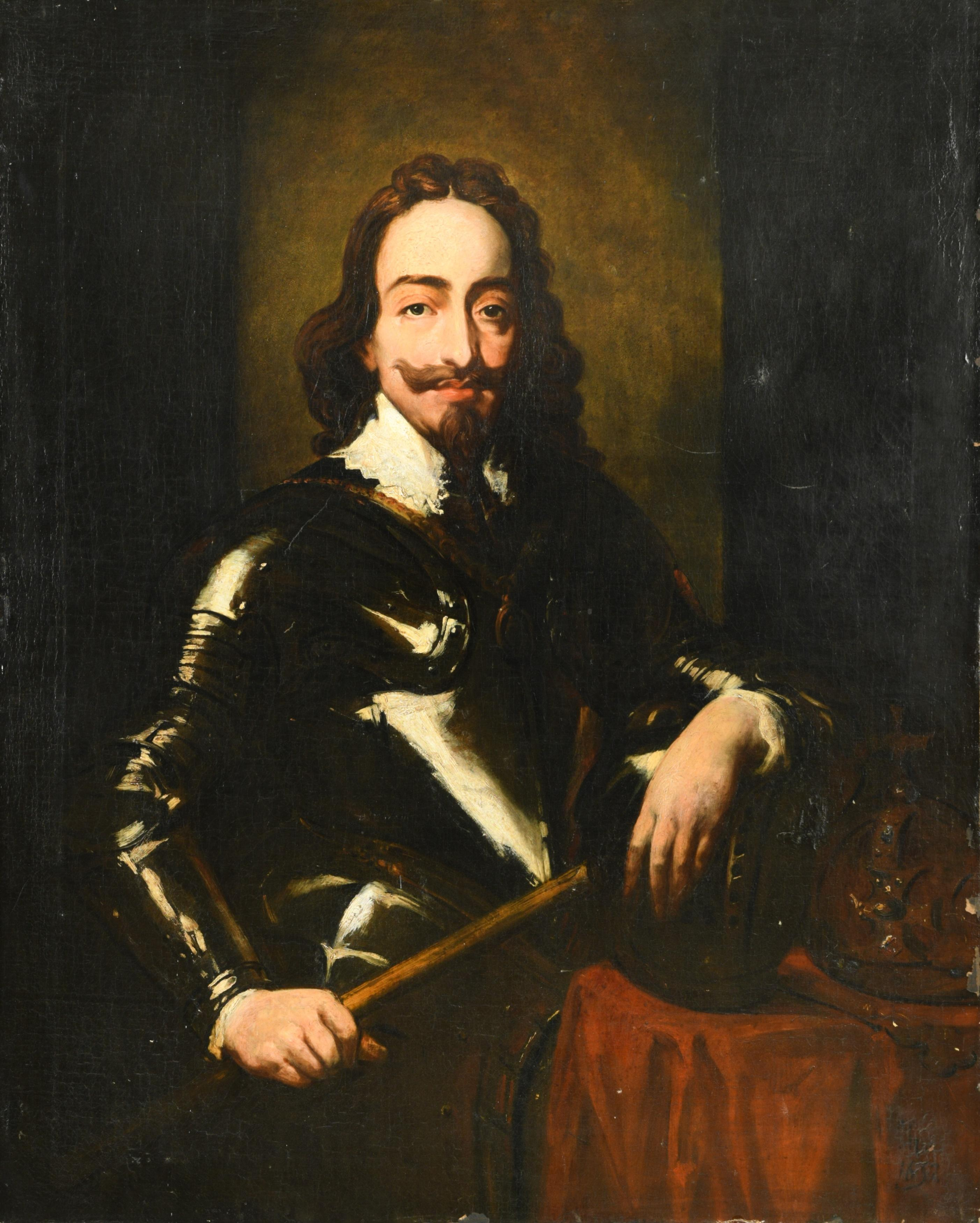 HUGE EARLY 19th CENTURY OIL PAINTING - PORTRAIT KING CHARLES 1ST AFTER VAN DYCK