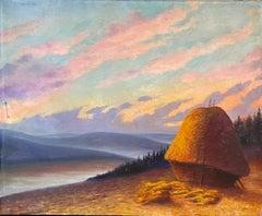 Huge French Impressionist Oil Painting - Haystacks at Sunset - Fine Landscape