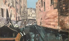 HUGE SIGNED ITALIAN OIL PAINTING - VENICE CANAL SCENE PAINTED FROM GONDOLA