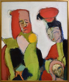 Humbert Howard Abstract Expressionist Signed Original Portrait Oil Painting