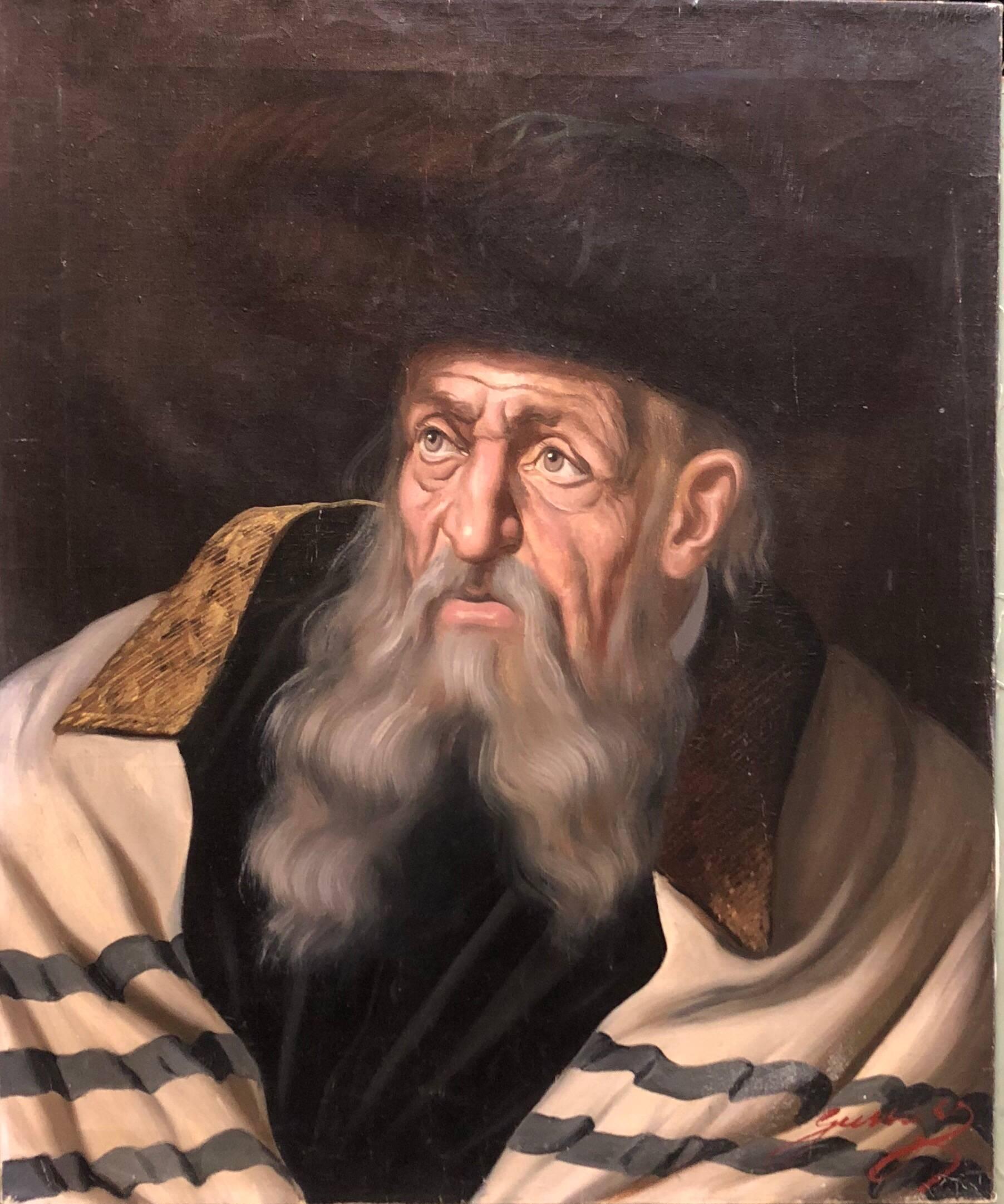 Hungarian Rabbi Judaica Oil Painting Hasidic Rabbi with Shtreimel