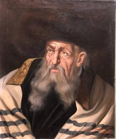 Hungarian Rabbi Judaica Oil Painting Hasidic Rabbi with Shtreimel