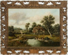 Hunter - Ornately Framed Early 20th Century English Oil, River Cottage