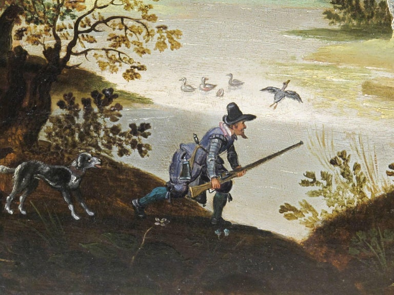 Hunters Shooting Geese, old masters Dutch painting pair attrib. to Vinckboons  - Old Masters Painting by Unknown