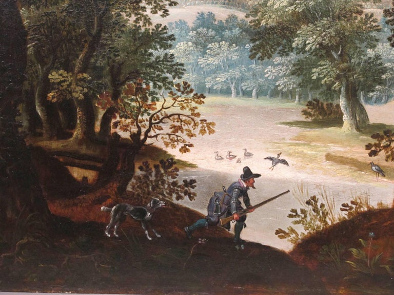 Hunters Shooting Geese, old masters Dutch painting pair attrib. to Vinckboons  - Black Landscape Painting by Unknown