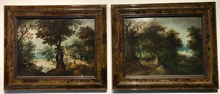 Unknown Landscape Painting - Hunters Shooting Geese, old masters Dutch painting pair attrib. to Vinckboons