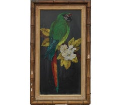 Idealized Tropical Parrot Painting Signed by S. Stastny