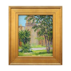 Impasto Naturalistic Adobe Church and Tropical Tree Texas Landscape Painting