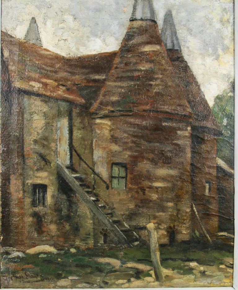 Impressionist 19th  Century French Farm House Landscape  - Painting by Unknown